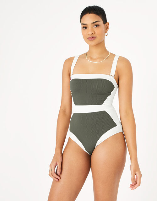 Illusion Textured Shaping Swimsuit, Green (KHAKI), large