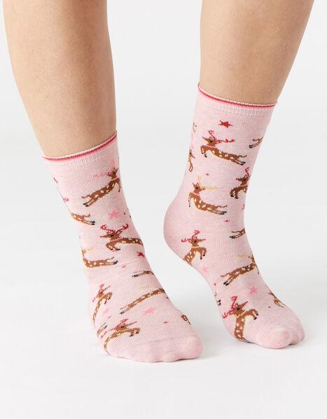 Prancing Reindeer Print Socks , , large