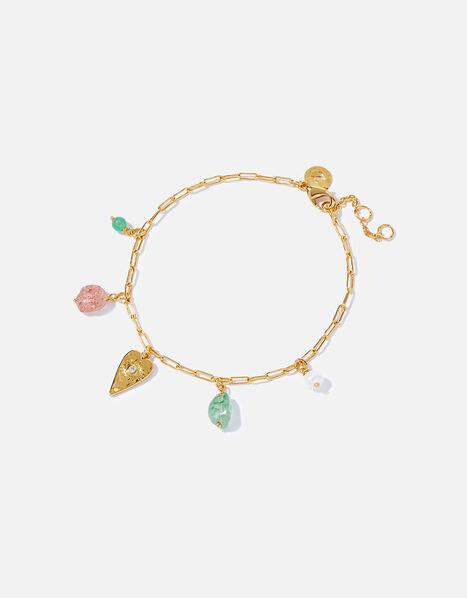 Gold-Plated Talisman Heart Bead Bracelet, , large