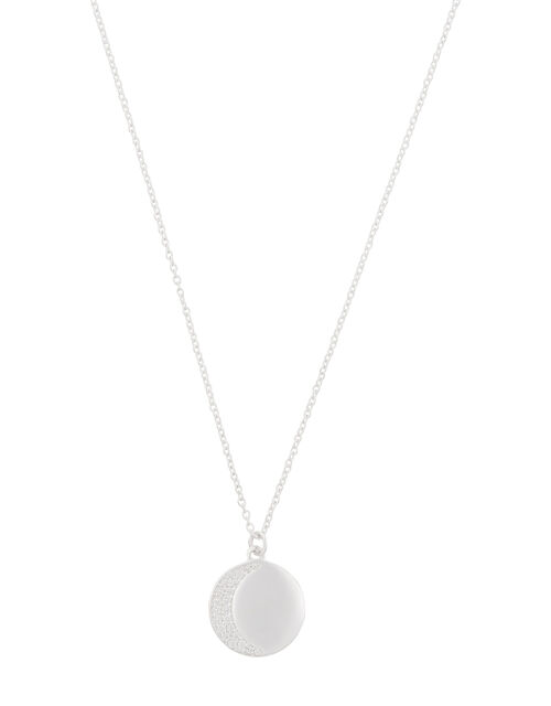 Sterling Silver Sparkle Moon Necklace, , large