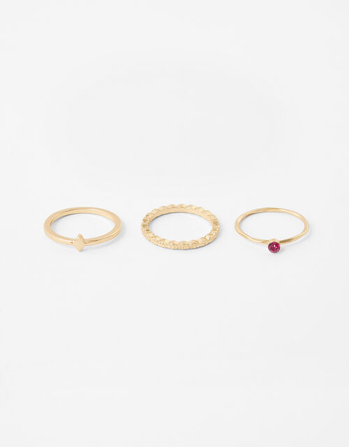 Pink Gem Stacking Ring Set, Pink (PINK), large