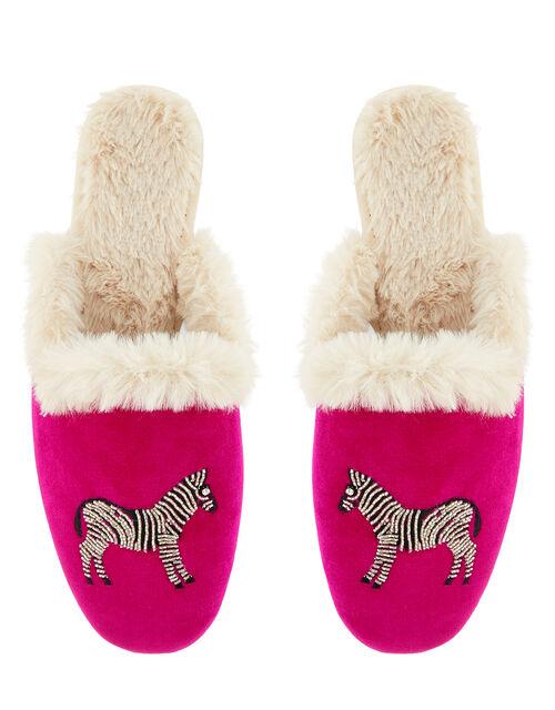 Embellished Zebra Mule Slippers, Pink (PINK), large