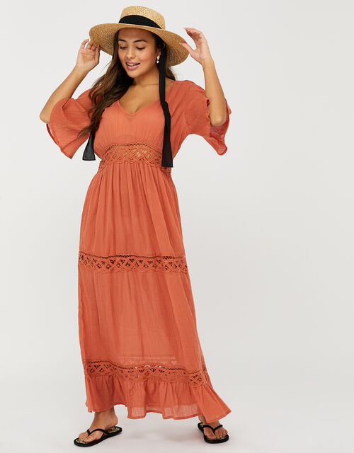 Lace Insert Maxi Dress, Orange (RUST), large