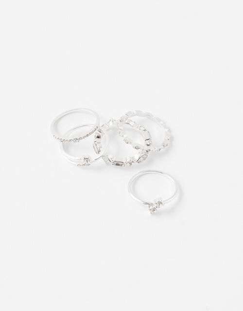 Engagement Stacking Rings with Recycled Metal, White (CRYSTAL), large