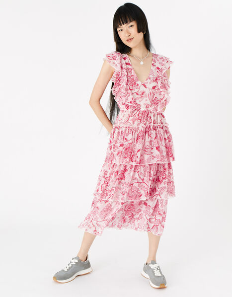 Floral Ruffle Midi Dress  Red, Red (RED), large