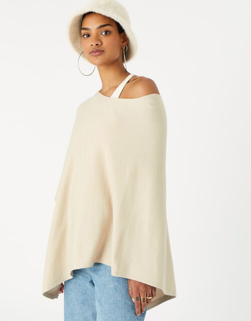 Lightweight Knit Poncho, Cream (CREAM), large
