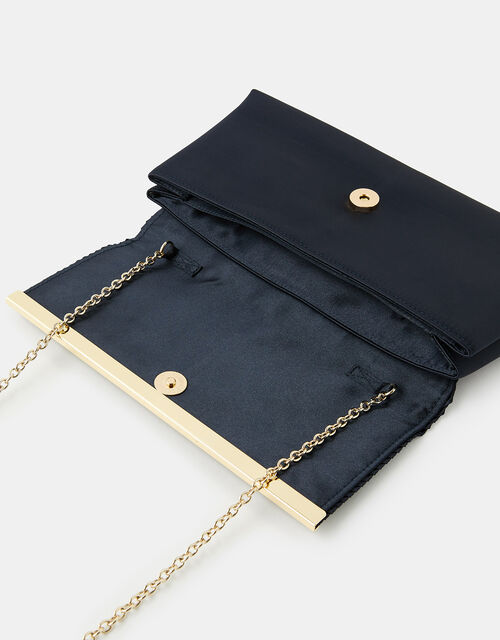 Pleated Satin Clutch Bag, Blue (NAVY), large