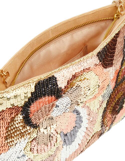 Seraphina Floral Sequin Clutch Bag, , large