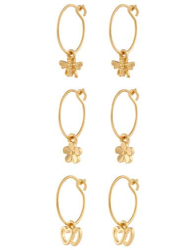 Bee, Daisy and Love Heart Hoop Earrings, , large