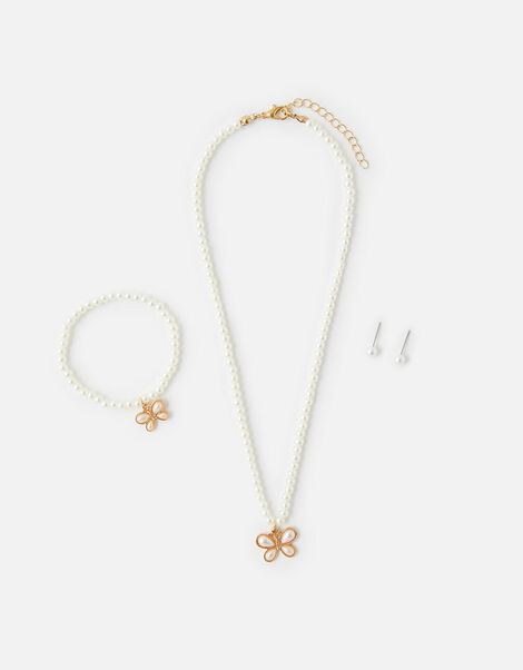 Pearly Butterfly Jewellery Set, , large