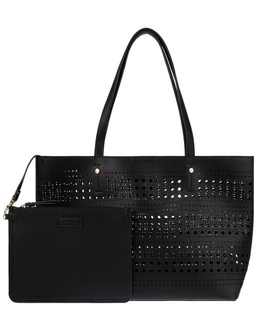 Perforated Shopper with Detachable Zip Pouch, Black (BLACK), large