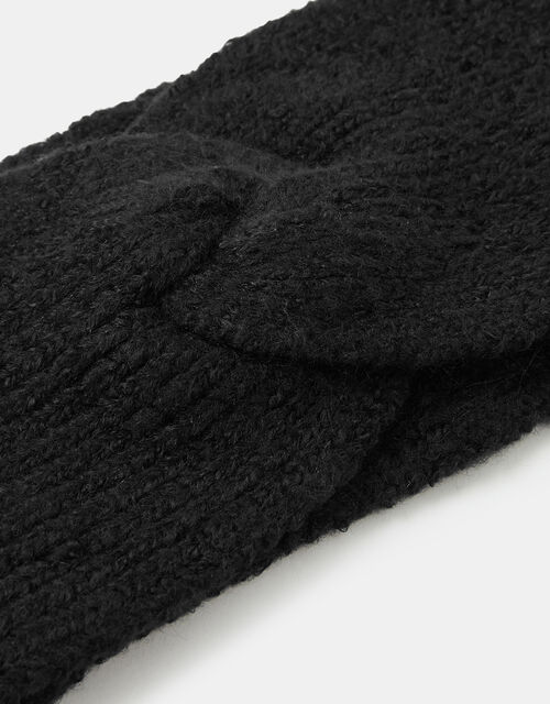 Knit Bando Headband, Black (BLACK), large