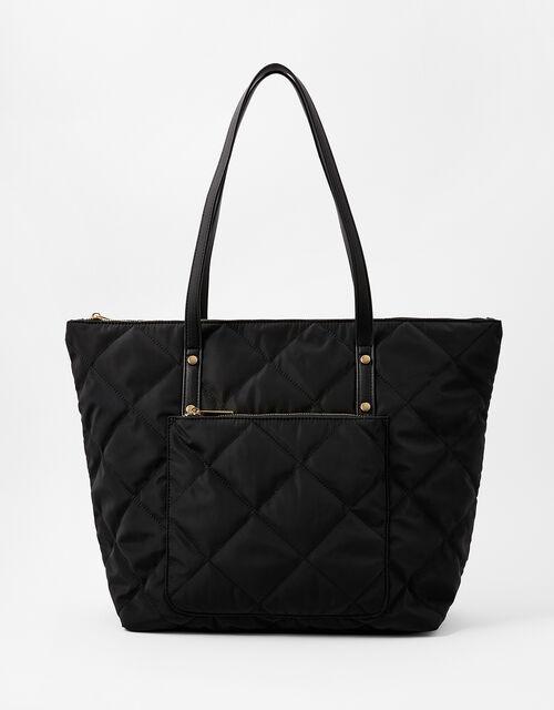 Tilly Quilted Tote Bag, Black (BLACK), large