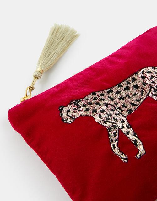 Embroidered Leopard Velvet Pouch Bag, , large