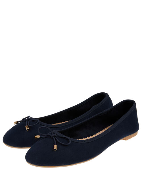 Sophia Bow Detail Ballerina Flats, Blue (NAVY), large