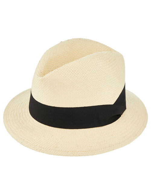 Straw Panama Hat with Wide Trim, Natural (NATURAL), large