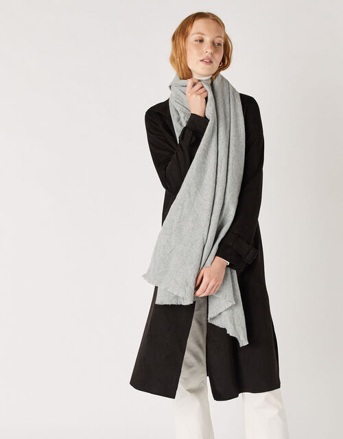 Wells Blanket Scarf Grey, , large