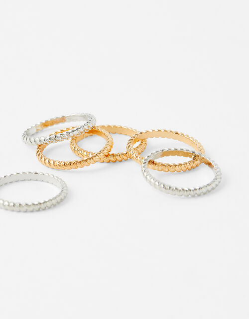 Textured Stacking Ring Set, Metalic (METALLICS), large