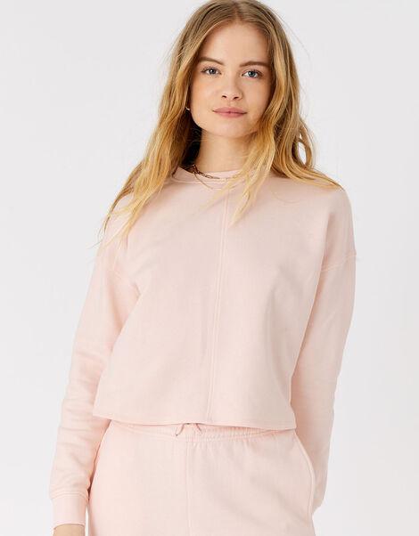 Lounge Sweat Cropped Sweatshirt in Organic Cotton Pink, Pink (PALE PINK), large
