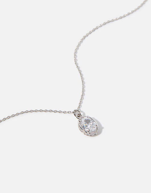 Platinum-Plated Oval Crystal Necklace, , large