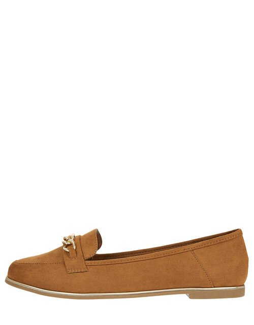 Chain Loafer Shoes, Tan (TAN), large