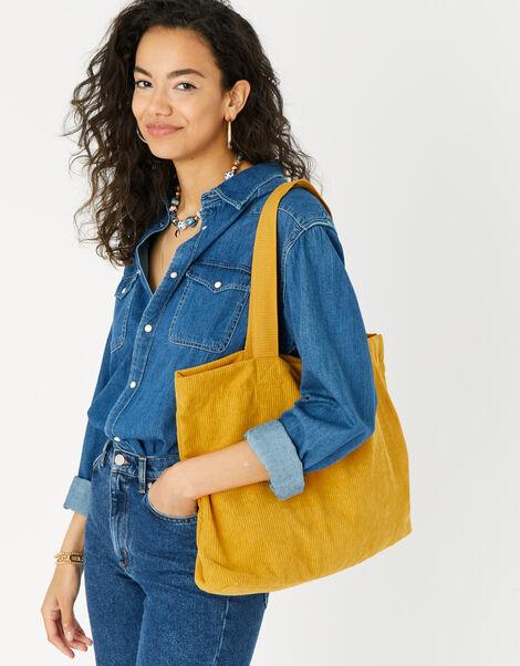 Cord Shopper Bag Yellow, Yellow (OCHRE), large