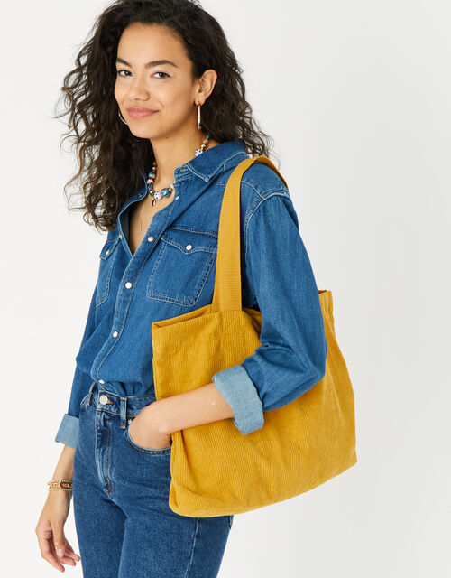Cord Shopper Bag, Yellow (OCHRE), large
