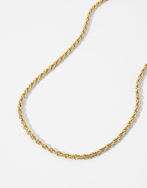 Gold-Plated Rope Chain Necklace, , large