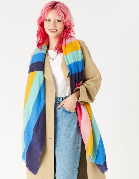 Rainbow Stripe Blanket Scarf, , large