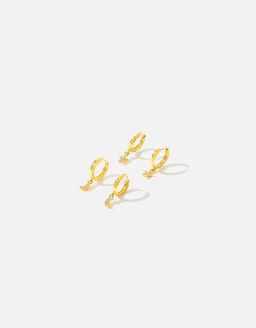Gold-Plated Star and Moon Hoop Set, , large