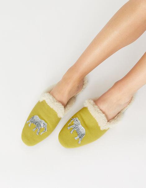 Elephant Fluffy Slippers Yellow, Yellow (YELLOW), large