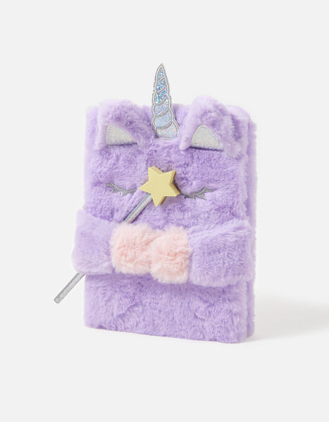 Fluffy Unicorn Notebook and Pencil, , large