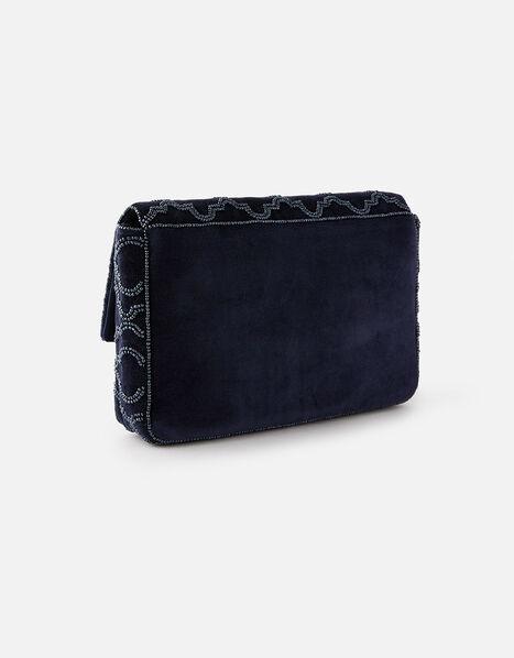 Grecian Tile Velvet Clutch Bag  Blue, Blue (NAVY), large