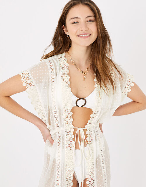 Dobby Chiffon and Lace Kaftan, Natural (IVORY), large