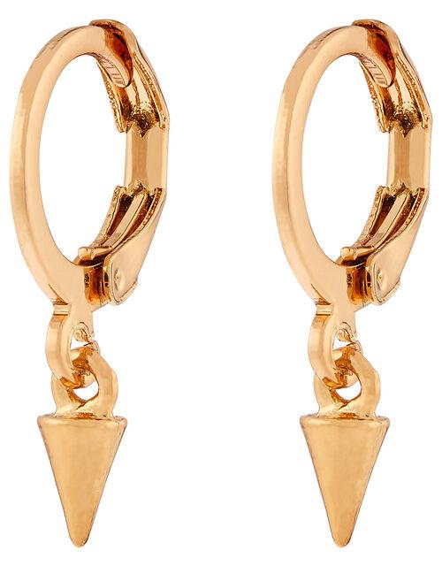 Spike Charm Huggie Hoop Earrings, , large