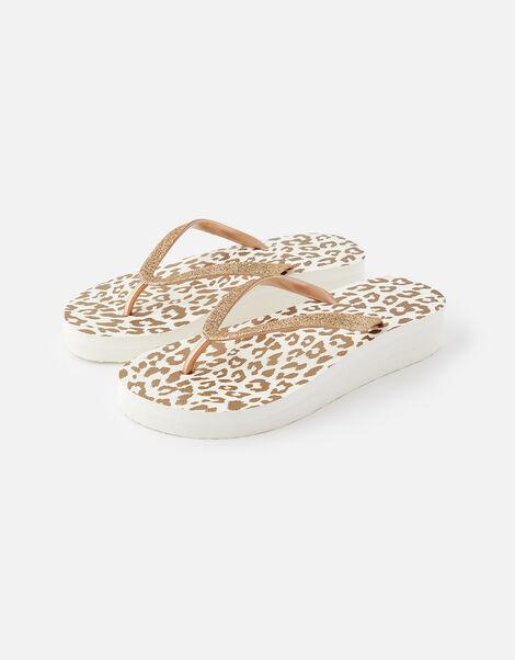 Glitter Leopard Wedge Flip Flops Gold, Gold (GOLD), large