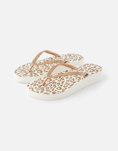 Glitter Leopard Wedge Flip Flops, Gold (GOLD), large