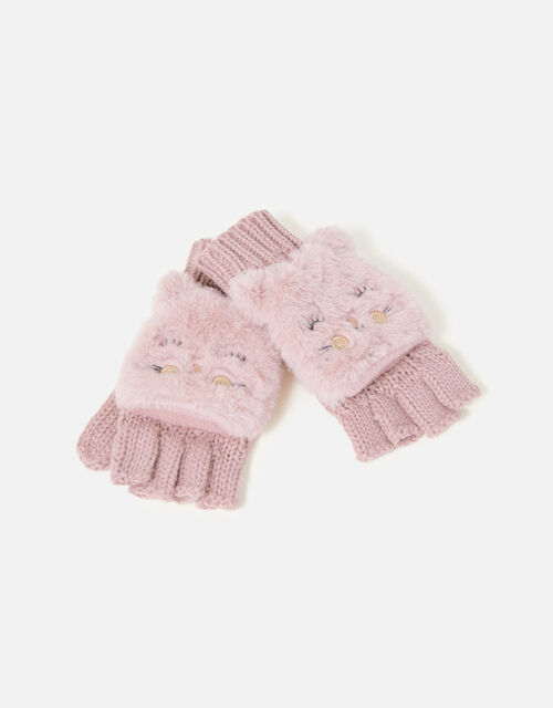 Girls Fluffy Cat Capped Gloves, Pink (PINK), large