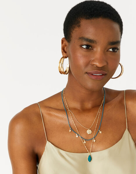 Reconnected Chain Charm Multirow Necklace, , large