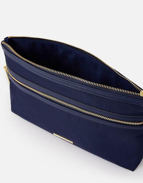 Zahra Zip Makeup Bag Blue, Blue (NAVY), large