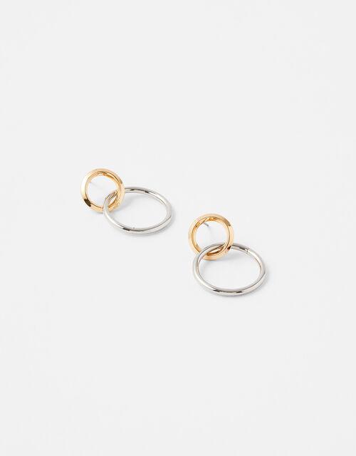 Mixed Metal Simple Doorknocker Earrings, , large