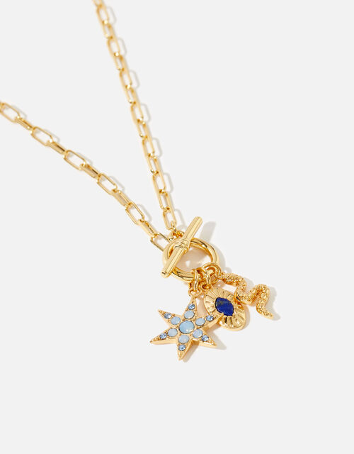 Gold-Plated Talisman T-Bar Necklace , , large