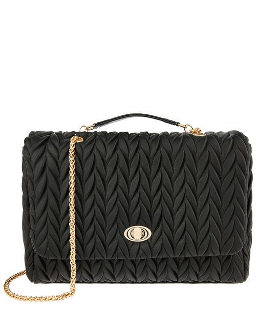 Penny Pleated Large Shoulder Bag, Black (BLACK), large