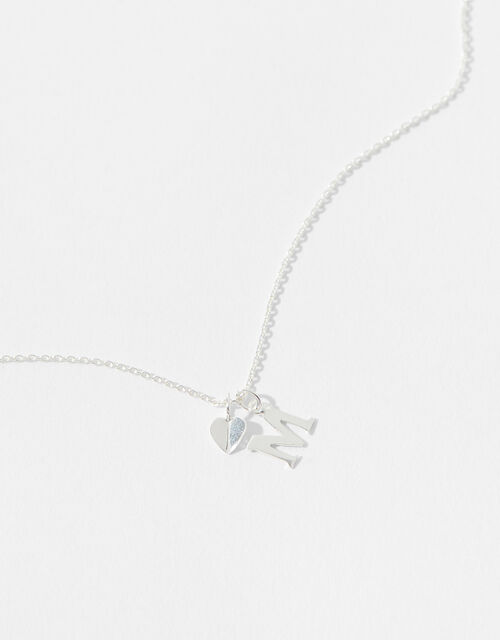 Sterling Silver Heart Initial Necklace - M, , large