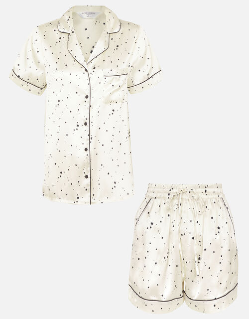 Star Print Satin Pyjama Set , Natural (IVORY), large