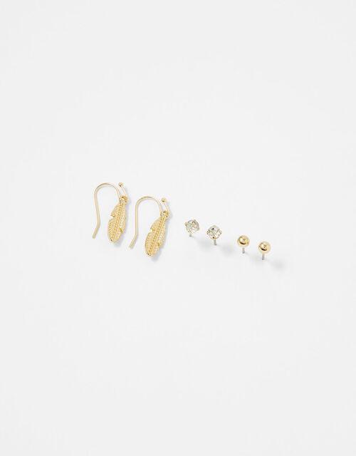 Stud and Leaf Droplet Earring Set, , large