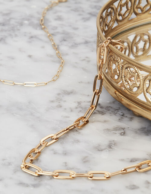 Rose Gold-Plated Paperclip Chain Necklace, , large