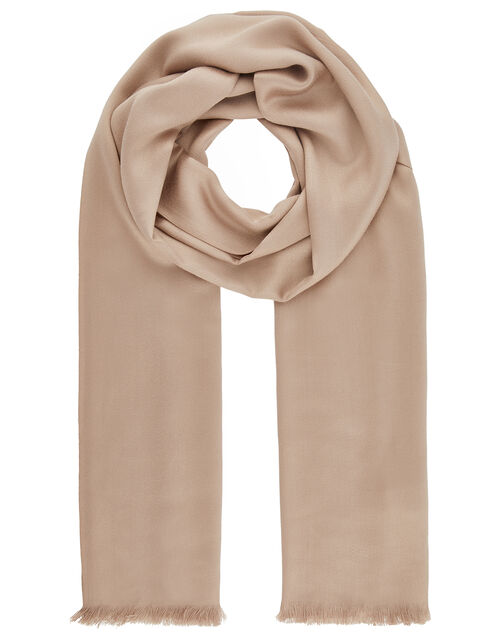 Plain Woven Scarf, Natural (CHAMPAGNE), large