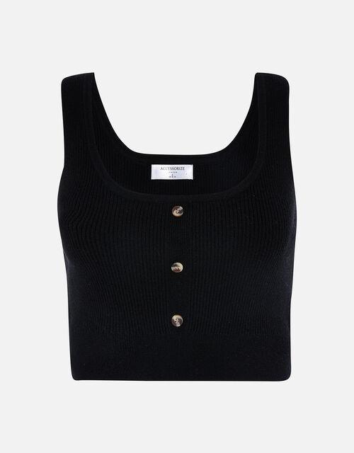 Button Front Lounge Crop Top, Black (BLACK), large
