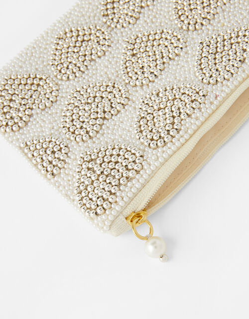Harrie Bridal Heart Beaded Pouch, , large